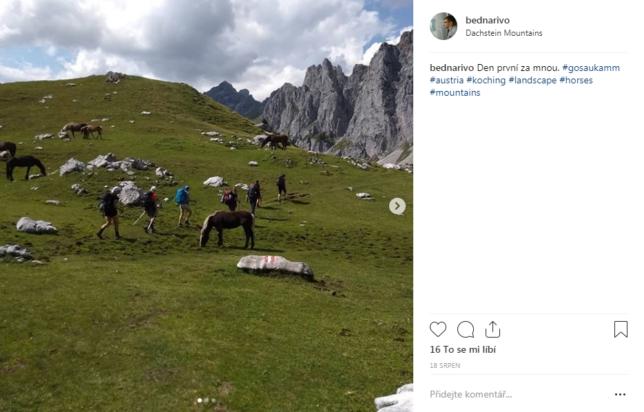 Instagramový příspěvek se stádem koní